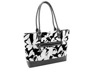 McKlein 11160 Allie Quilted Fabric with Croco Faux Leather Tote, Black Floral