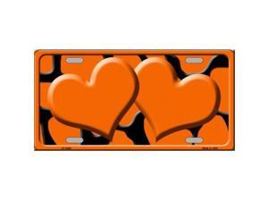Smart Blonde LP-2448 Orange Black Giraffe Print With Orange Centered Hearts Novelty License Plate