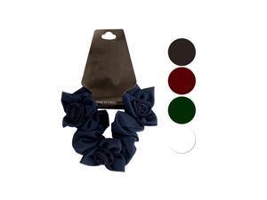 Bulk Buys BI638-72 Chiffon Scrunchi With Twisted Ruffle Flower Accents