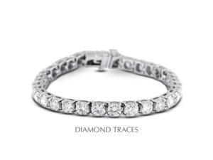 Diamond Traces D-SB846-300-1100 18K White Gold 4-Prong Setting, 3.00 Carat Total Natural Diamonds Tennis Bracelet