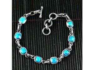 Artisana Handcrafted Mexican Alpaca Silver and Turquoise Cube Bracelet