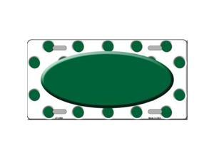Smart Blonde LP-2988 Green White Polka Dot Print With Green Center Oval Metal Novelty License Plate