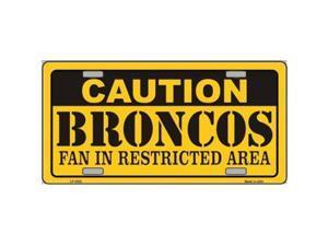 Smart Blonde LP-2522 Caution Broncos Metal Novelty License Plate