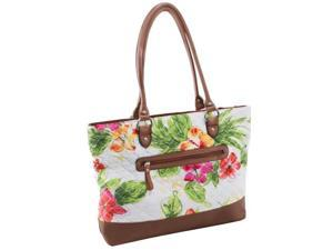 McKlein 11167 Allie Quilted Fabric with Croco Faux Leather Tote, White Floral
