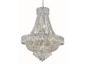 Elegant Lighting 1900D24C-EC 24 D x 30 in. Century Collection Hanging Fixture - Elegant Cut, Chrome