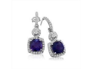 SuperJeweler 14K Dangling Micropave Amethyst And Diamond Earrings - White Gold