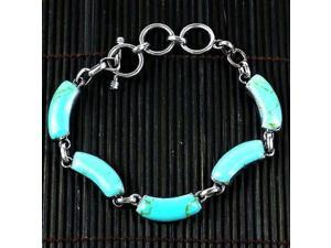 Artisana Handcrafted Mexican Alpaca Silver and Turquoise Curve Bracelet