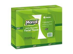 Marcal 4034CT 100 Percent Recycled Convenience Pack Facial Tissue, White