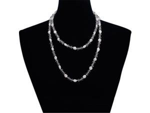 SuperJeweler Double Strand Pearl And Crystal Necklace And Bracelet Set