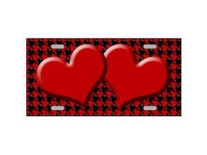 Smart Blonde LP-4579 Red Black Houndstooth With Red Center Hearts Metal Novelty License Plate