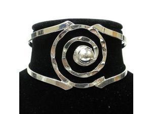 Artisana Silver Overlay Hammered Spiral Cuff Bracelet