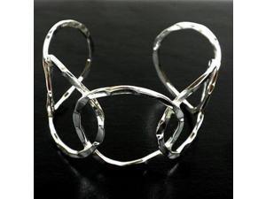 Artisana Silver Overlay Hammered Cuff - Circles