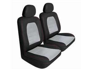 Pilot Automotive SC-436E Super Sport Synthetic Leather Seat Cover - Black & Gray, 2 Piece Set