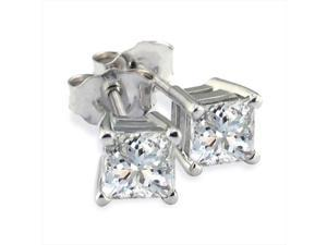 SuperJeweler 0.25 Ct. Our Finest Platinum Princess Diamond Stud Earrings