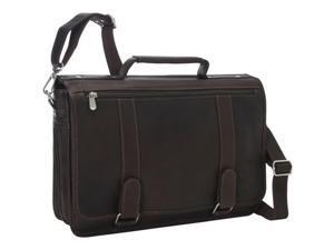 Piel Leather 3004 - BLK Double Loop Expandable Laptop Briefcase - Black