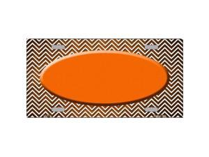 Smart Blonde LP-7176 Orange White Small Chevron Oval Print Oil Rubbed Metal Novelty License Plate