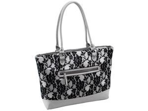 McKlein 11323 Aaryn Quilted Fabric with Faux Leather Tote, Grey Lace