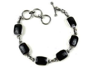 Artisana Handcrafted Mexican Alpaca Silver and Onyx Bracelet