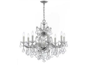 Crystorama Lighting 4408-CH-CL-MWP Maria Theresa 9 Light Clear Crystal Chrome Chandelier