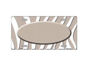 Smart Blonde LP-2921 Tan White Zebra Print Tan Center Oval Metal Novelty License Plate
