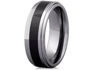 Doma Jewellery SSTCCR00311 Tungsten Carbide & Ceramic Ring, Size 11