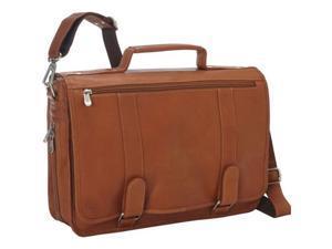 Piel Leather 3004 Double Loop Expandable Laptop Briefcase - Saddle