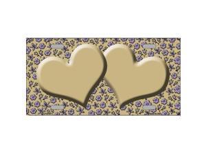 Smart Blonde LP-2768 Gold Purple Flower Doodle Gold Center Hearts Metal Novelty License Plate