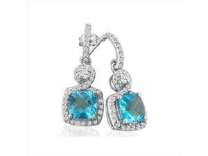 SuperJeweler 14K Dangling Micropave Blue Topaz And Diamond Earrings - White Gold