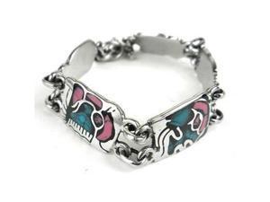 Artisana Mayan Glyph Colorful Link Bracelet in Alpaca Silver