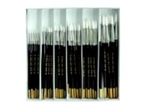 Royal Brush Economy Round Paint Brush Assortment - Assorted Flat Size, Brown, Pack 72