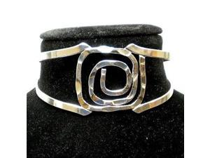 Artisana Silver Overlay Hammered Rectangular Spiral Cuff Bracelet