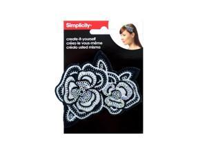 Bulk Buys WM415-96 Simplicity Embroidered Sequin Flower Headband Accent