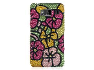 DreamWireless FDMOTXT926GRHPHF Motorola Droid Razr Hd Fighter Xt926 Full Diamond Case, Green Hot Pink Hawaii Flower