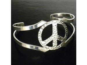 Artisana Silver Overlay Hammered Peace Cuff Bracelet