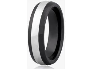 Doma Jewellery SSTCCR00111 Tungsten Carbide & Ceramic Ring, Size 11