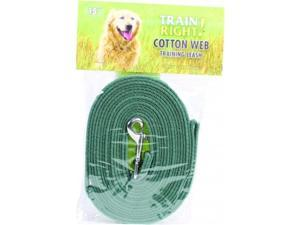 Coastal Pet Products 827908 Train Right Cotton Web Training Leash - Green 15 ft.