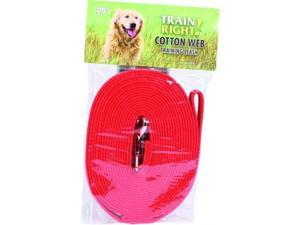 Coastal Pet Products 827912 Train Right Cotton Web Training Leash - Red, 20 Foot