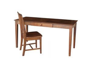 International Concepts K-581-42-10 Desk with drawer - larger size and chair Espresso