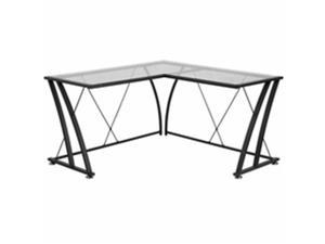 Flash Furniture NAN-WK-096-GG Glass L-Shape Computer Desk With Black Frame Finish