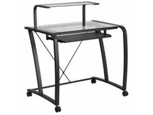 Flash Furniture NAN-WK-053-GG Mobile Glass Computer Desk With Pull-Out Keyboard Tray And Monitor Platform