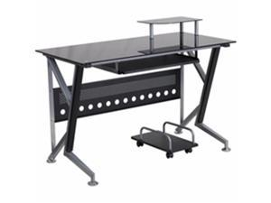 Flash Furniture NAN-WK-059-GG Black Glass Computer Desk With Pull-Out Keyboard Tray And CPU Cart
