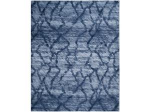 Safavieh RET2144-6570-8 8 x 10 ft. Large Rectangle Contemporary Retro Blue & Dark Blue Shag Rug