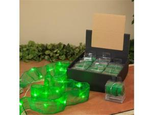 Gerson Compnay 92696 Christmas Ribbon with Green Micro LED Lights