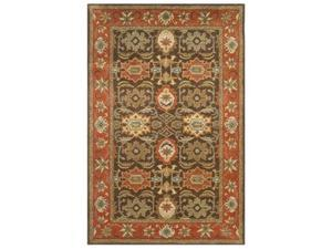 Safavieh HG734B-9 8 ft. - 3 in. x 11 ft. Large Rectangle, Traditional Heritage Chocolate And Tangerine Hand Tufted Rug