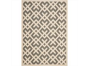 Safavieh CY6915-236-5 5 ft. -3 in. x 7 ft. -7 in. Medium Rectangle Indoor-Outdoor Courtyard, Grey and Bone, Machine Made Rug