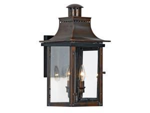 Quoizel Chalmers Traditional Aged Copper Medium Wall Lantern