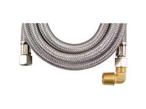 Calflex DW120SSBL Braided Stainless Steel Dishwasher Connectors with Elbow, 120 connector