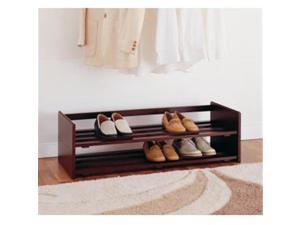 Organize It All 17081 2 Tier Stackable Shoe Rack in Mahogany