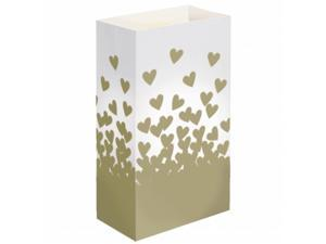 JH Specialties 48524 Luminaria Bags - Standard Gold Hearts 24 Ct