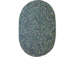 Rhody Rug SA98R024X048 Sandi 2 x 4 ft. Tweed Indoor-Outdoor Oval Braided Rug, Denim